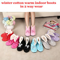 Free Shipping New Lovely Home Plush Slippers TWO way Wear Shoes,Heart Bow Indoor Slippers Winter Foot Warmer one size fits most
