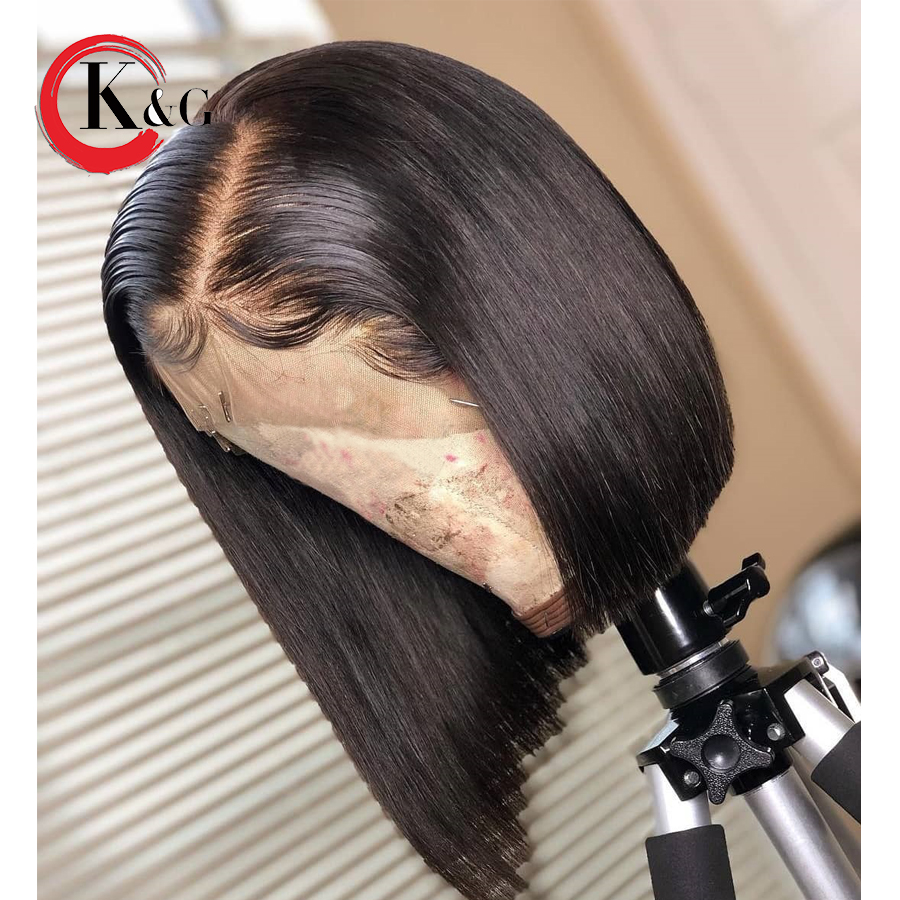 "Kun Gang 13*4 Inches Lace Front Short Bob Wig Pre Plucked Brazilian Remy Human Hair Wigs For Women Bleached Knots 8-14""  (China)"