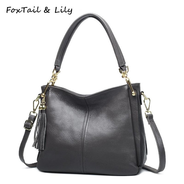 ab3db47a03b5 FoxTail   Lily Famous Designer Genuine Leather Bag Women Real Soft Leather  Handbags with Tassels Lady Shoulder Crossbody Bags