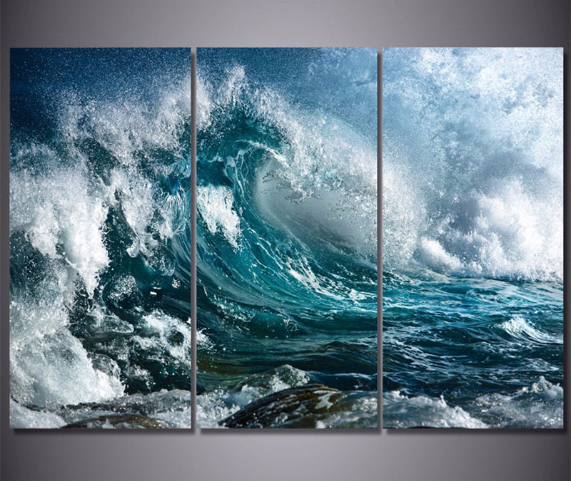 3 Panel Canvas Wall Art Blue Ocean Sea Waves Painting The