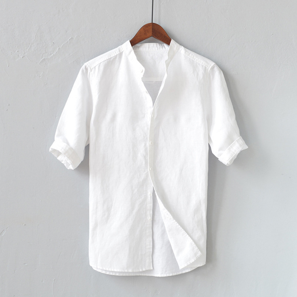 Men Shirts Mens White Shirt Linen Summer Men's Breathable Solid Color Button Cotton Shirt Five-point Sleeve Sleeve Camisa 2020