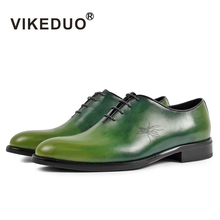 цены Vikeduo Green Oxford Dress Shoes For Men Painte Handmade Wedding Office Shoe Male Genuine Leather Zapato Hombre Fashion Footwear