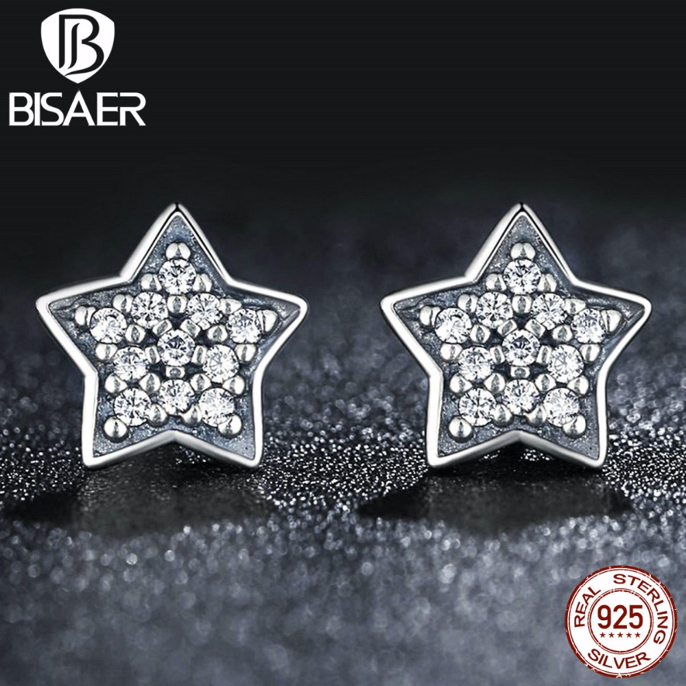 Authentic 925 Sterling Silver Five-pointed star Stud Earrings With Clear CZ Compatible with Jewelry Special Store GOS408 ...
