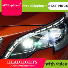 Auto Lighting Style LED Head Lamp for PEUGEOT 3008 led headlights 2017-2018 cob signal led H7 hid Bi-Xenon Lens low beam