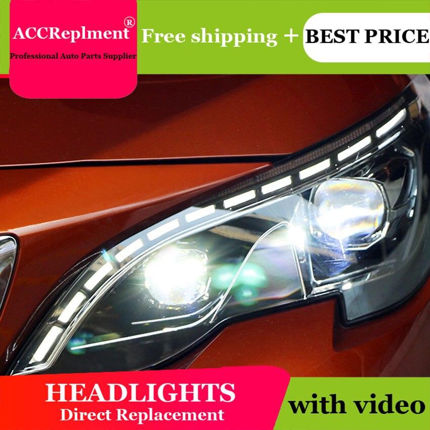 Phare de LED de Style d'éclairage automatique pour les phares de PEUGEOT 3008 LED 2017-2018 cob LED de signal H7 hid faisceau de croisement de lentille bi-xénon