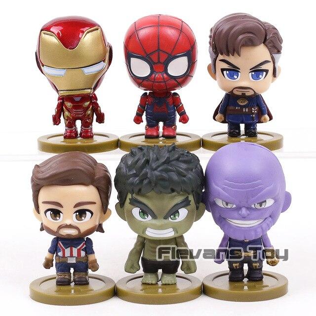 Marvel Vingadores Thanos Infinito Guerra Homem De Ferro Homem Aranha Capitão América Hulk Doutor Estranho Q Versão Figura Boneca de Brinquedo