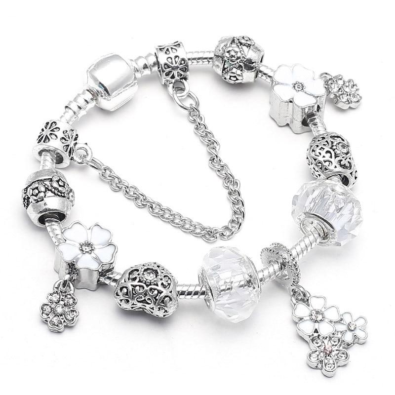 BAOPON Прямая поставка винтажные Подвески серебряного цвета браслеты для женщин DIY Кристальные бусины изящные браслеты для женщин Pulseira ювелирные изделия - Окраска металла: Type 7
