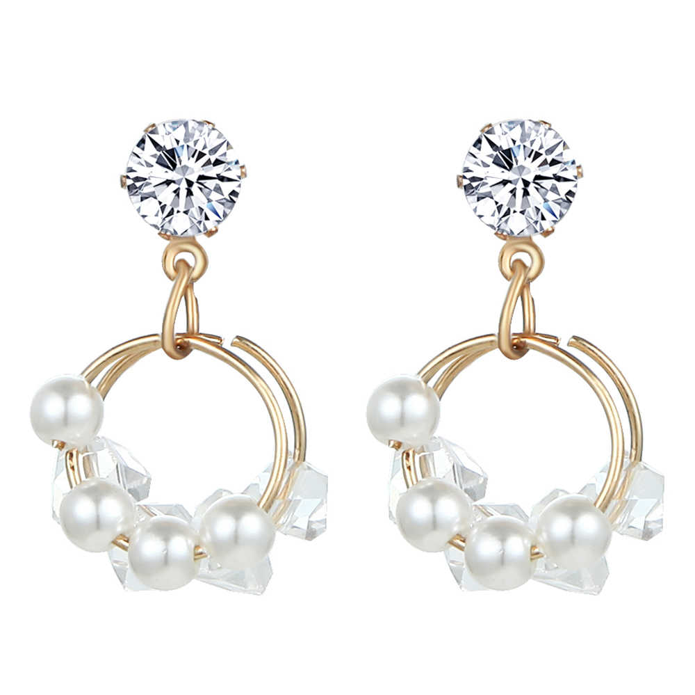 Fashionable Imitation of Pearl Earrings 2019  Metal Double  Circular Exquisite crystal Drop Earrings Jewelry Gift for  Friend