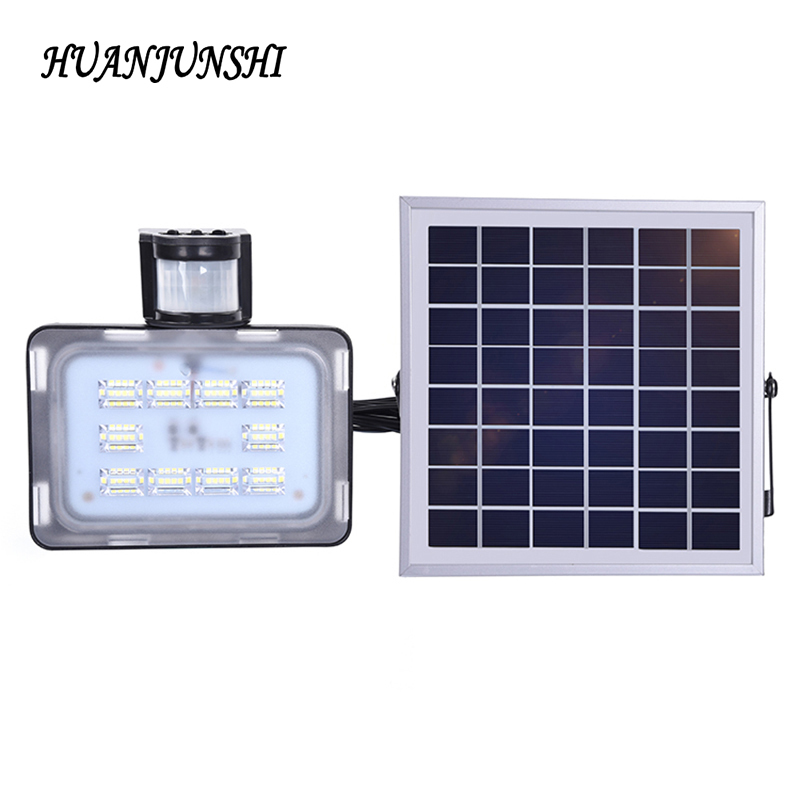 20W LED Solar Floodlight With PIR Motion Sensor 5730 SMD 2400LM DC12V 24V 6000K-6500K Cold White Outdoor Flood Lighting