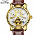 GUANQIN New Brand Watch Man Tourbillon Automatic Mechanical Luxury Leather Band Skeleton Watch Fashion Casual Business Watches