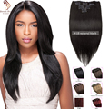 7A Clip In Human Hair Extensions Brazilian Straight  human hair Clip In Hair Extensions 7pcs Silky Straight  Products