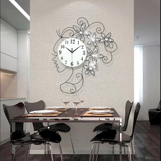 3d Grande Horloge Murale 49 Pcs Diamants Design Moderne Décor à La