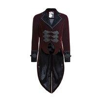 Панк Rave красный Для Мужчин's стимпанк готический вампира куртка пальто рок нежный фрак Y635