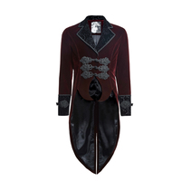 Punk Rave Red Men's steampunk gothic Vampire Jacket Coat Rock Gentle Tailcoat Y635