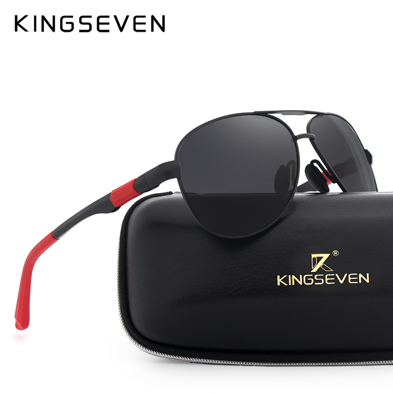KINGSEVEN Brand Men 100 font b Polarized b font Aluminum Alloy Frame Sunglasses font b Fashion