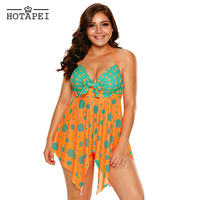 Hotapei Plus Size Swimwear Orange Blue Polka Dot Print Tankinis Swimsuit LC410328 Women Bathing Suits Beach