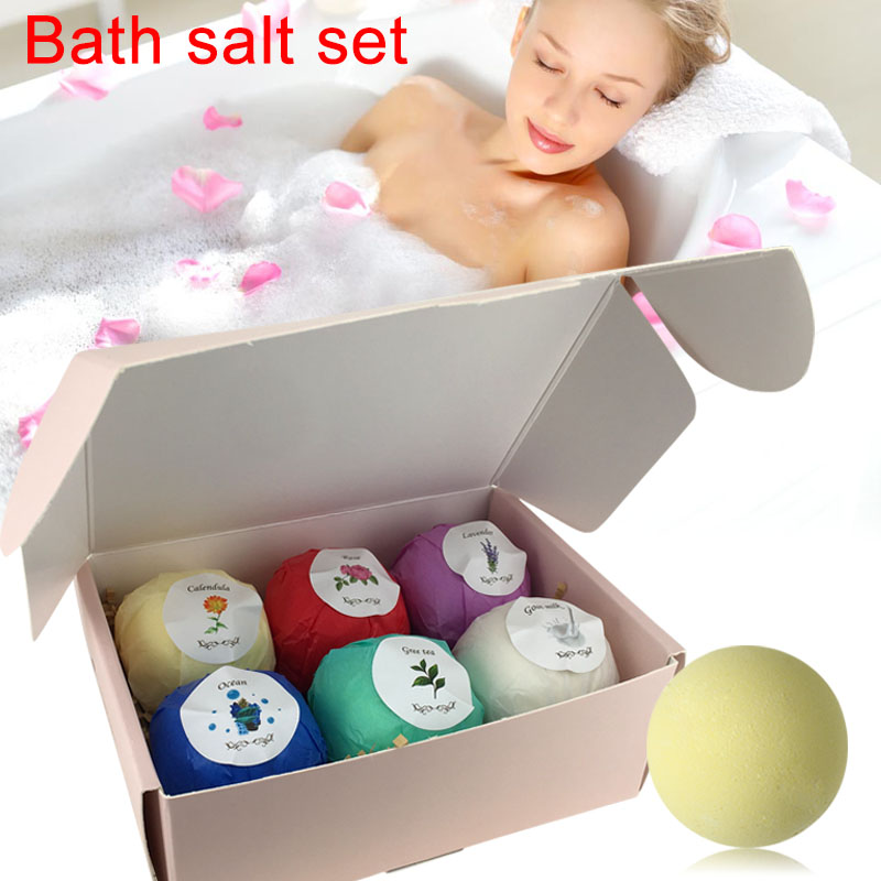 6pcs Bath Salts Bombs Ball Household Bath Skin Care Bath Salt Set Body Scrub Whitening Moisture SPA Valentines Day Gift HB88