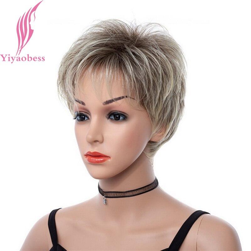 Yiyaobess 8 polegada Mix Castanho Claro Ombre Perucas Curtas Para As Mulheres Negras de Ouro Resistente Ao Calor Peruca de Cabelo Sintético Com Franja
