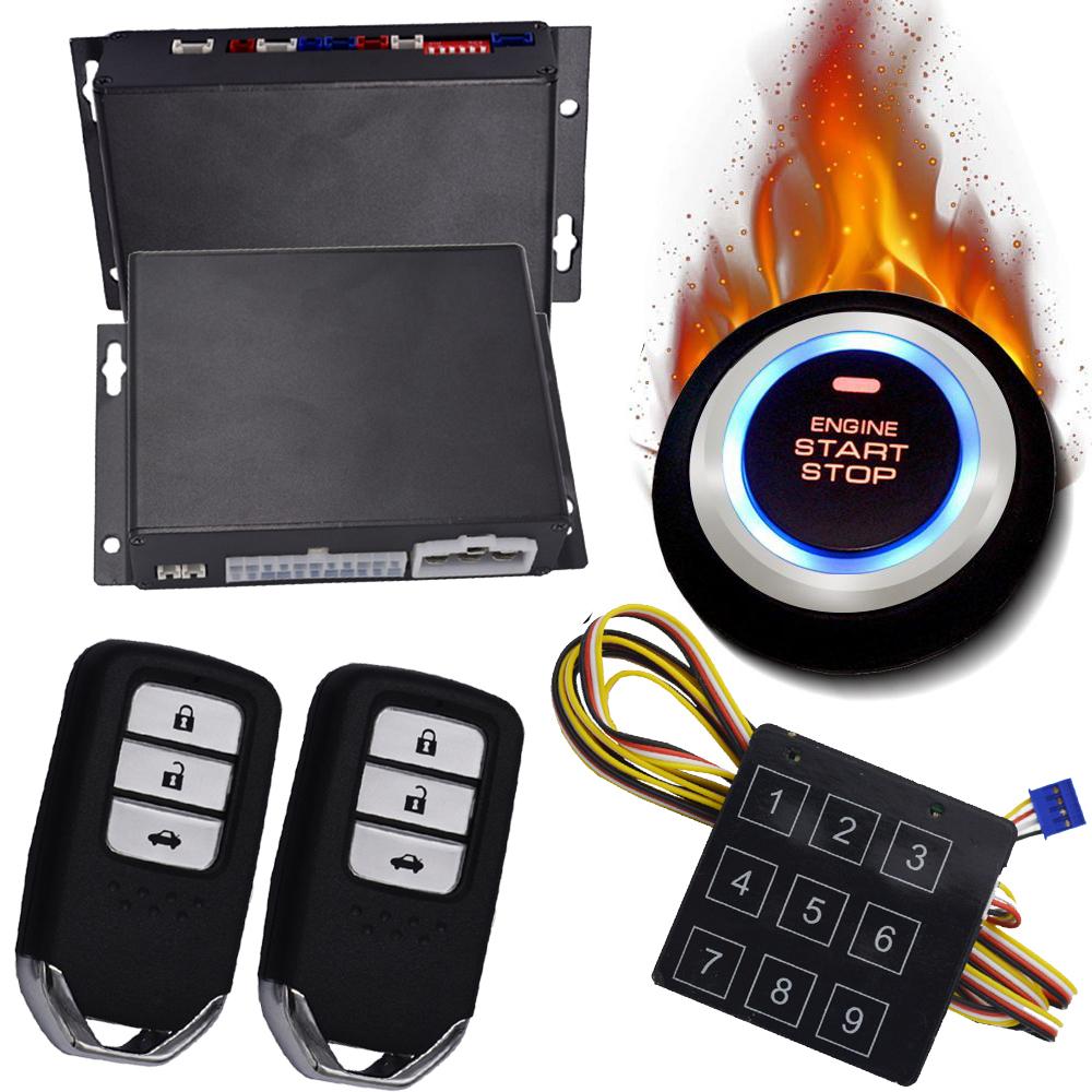 PKE passive keyless entry system remote engine start stop car alarm