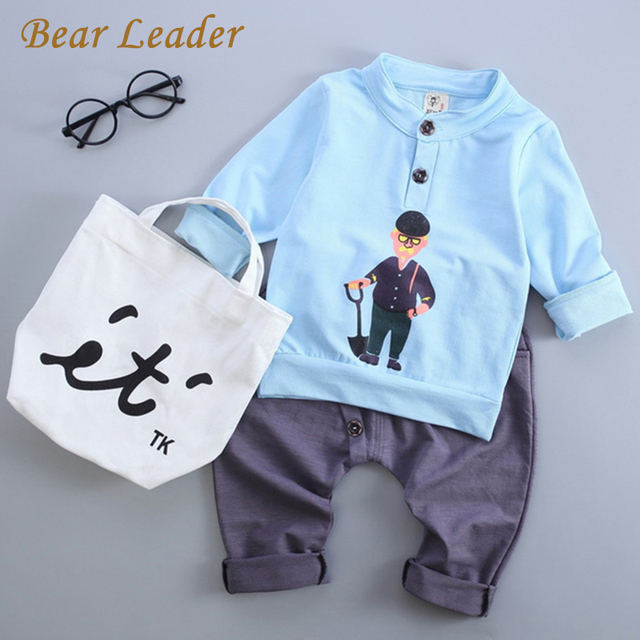 Bear Leader Baby Clothing Sets 2016 Autumn Baby Boy Clothes Long Sleeve Portrait Print Sweatshirts+Pants 2Pcs Kids Clothing Sets