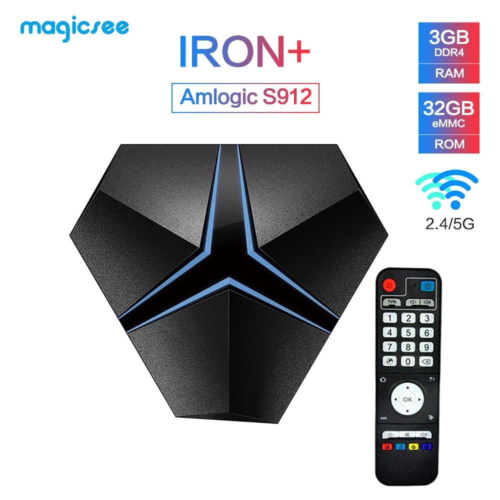 Magicsee Iron+ Android 7.1 tv box Amlogic S912 Octa Core 3G 32G 2.4G/5.8G Wifi suppot OTA Update Lan 1000M BT4.1 Media PlayerMagicsee Iron+ Android 7.1 tv box Amlogic S912 Octa Core 3G 32G 2.4G/5.8G Wifi suppot OTA Update Lan 1000M BT4.1 Media Player
