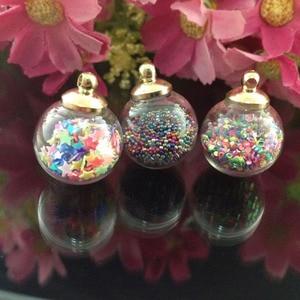 Image 1 - 6pcs/lot new arrival kawaii Fashion Wishing Crystal Glass Round Quicksand Ball Mobile Chain Key pendant diy jewelry accessory