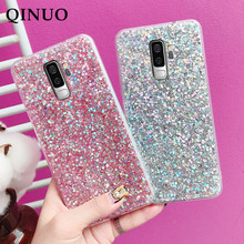 QINUO Luxury Bling Glitter Phone Case For Samsung Galaxy J3 J4 J5 J6 Plus J7 Pro Prime 2017 2018 Crystal Soft Silicone Cover Bag(China)