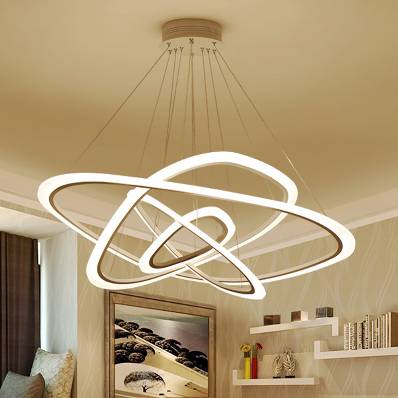 New Modern pendant lights for living room dining room 4/3/2/1 Circle Rings acrylic LED Lighting ceiling Lamp fixtures new circle rings modern led pendant lights for living room bedroom 5 4 3 2 tiers led pendant lamp fashion home lighting fixtures