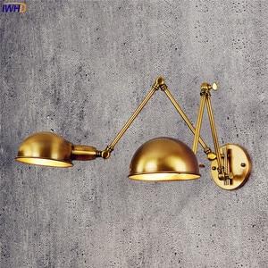Image 5 - Iwhd lâmpada de parede ajustável, vintage, 2 cabeças, lâmpada retrô, loft, luz de parede industrial, edison, sconce, luminária