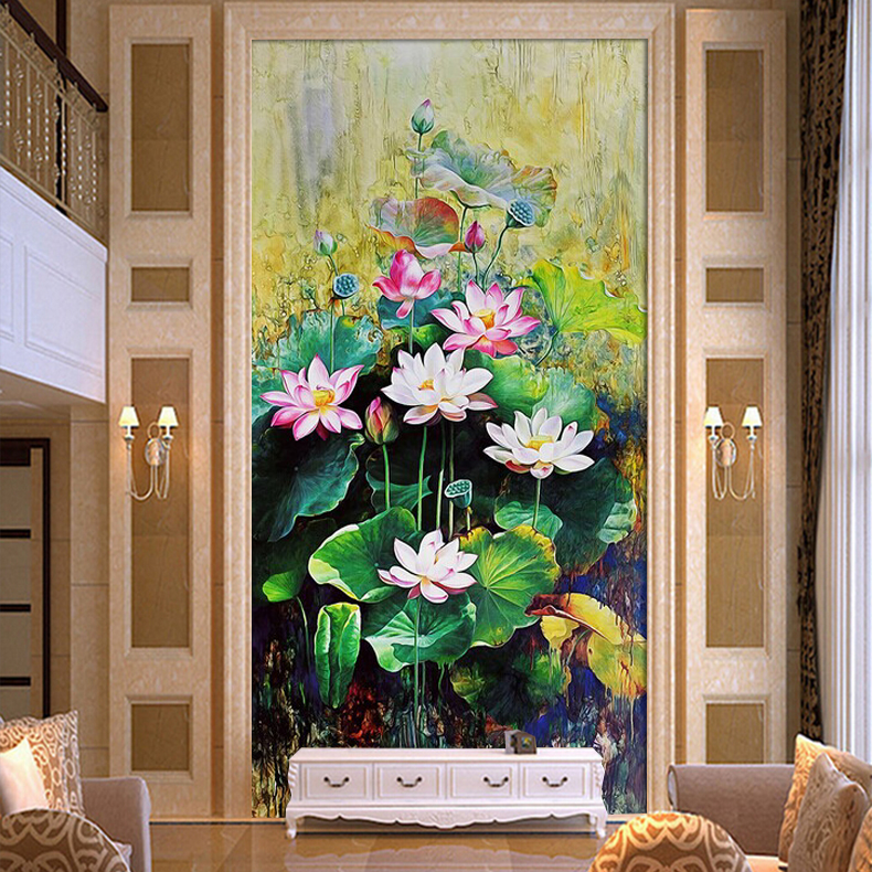 Custom 3d mural wallpaper Chinese jade lotus 3D stereoscopic TV background wallpaper the bedroom living room 3d photo wallpaper custom floral wallpaper 3d stereoscopic