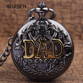 Antique DAD Hollow Mechanical Pocket Watches Chain Pendent Vintage Hand-Wind Pocket FOB Watches for Men Daddy Relogio De Bolso