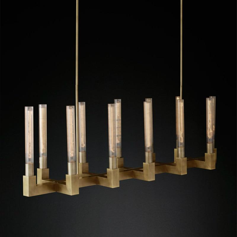 RH Américain Rétro Cuivre Or Led Lustre E14 Ampoules Luminarias Led Pendentif Lustre Luminaires Lamparas