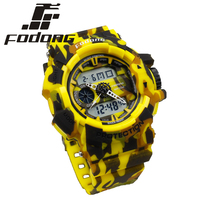 Fodong Water Resistant Dual Display Digital Watch Men High Quality Rubber Yellow Round Swim Horloges Mannen