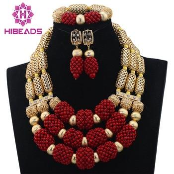 Chunky Gold/Wine Burgundy Fantastic Nigerian Wedding  Bridal Jewelry Set Women Style African Fashion Bead Free Shipping ABL672