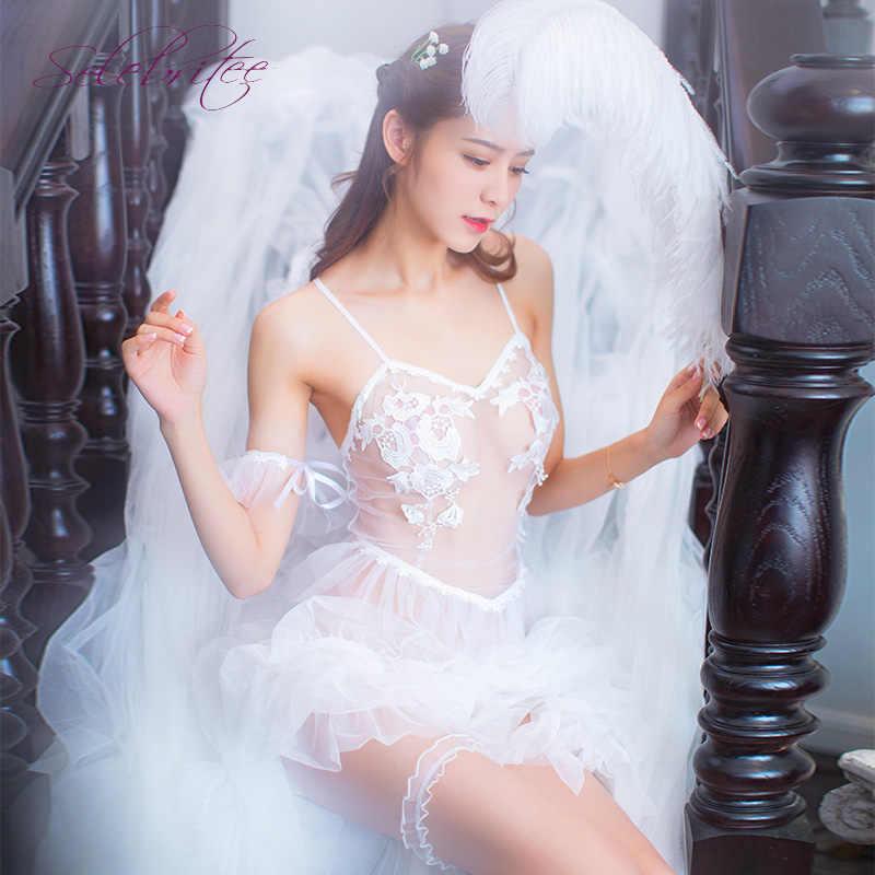 c6873e1971a ... Selebritee Women Costume Bridal Dress with Veil Lingerie Sexy Costumes  Lace Bodysuit Babydoll Lingerie Adults Bride ...