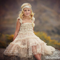 2016 New Beach Wedding party Ivory Lace Tulle A-line Country Boho Style Flower Girl Dresses First communion dress for Kids