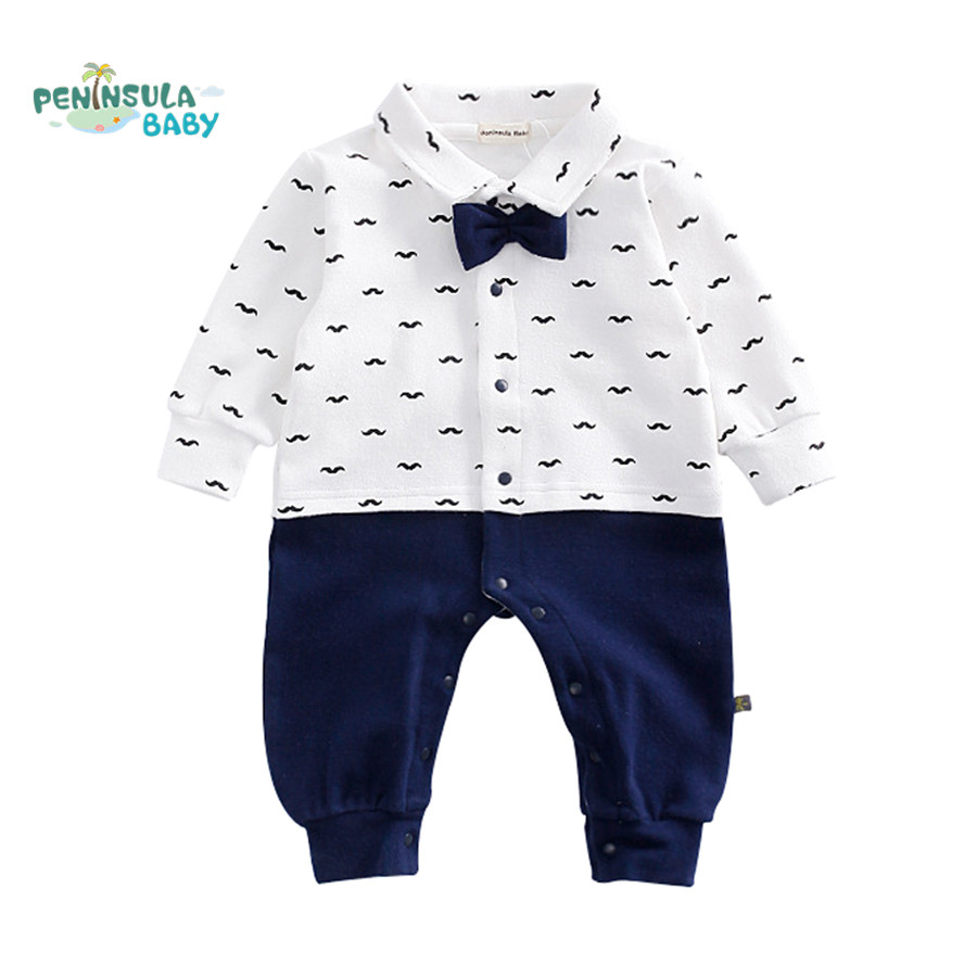 2017 Spring Newborn Baby Boy Rompers Gentleman Clothing Cotton Bow Tie Casual Body Suit Toddler Jumpsuit Baby Boys Clothes newborn baby girls rompers 100% cotton long sleeve angel wings leisure body suit clothing toddler jumpsuit infant boys clothes