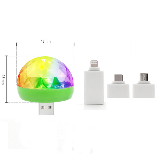 Disco Light Mini USB Disco Crystal Magic Ball Party Portable Colorful Night Lights Gift For Children Phone DC 5V Led Stage Lamp 5
