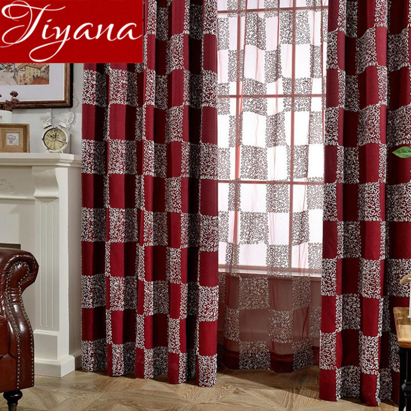 US $12.44 34% OFF|Red Curtains for Modern Living Room 3D Geometric Curtain  for Window Bedroom Blue Drapes Fabrics Shade Blinds Treatment X380 #30-in  ...