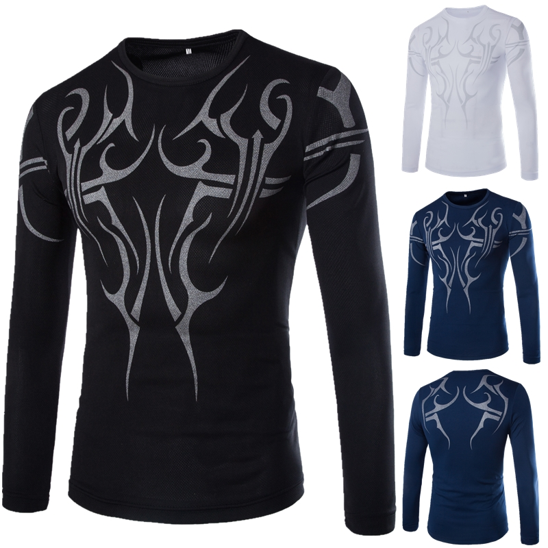 Men T Shirt Aerobics Outfit Long Sleeve T-shirt Domineering Tattoo Quick Dry Bodysuit Printed Men Clothes 2018 Mens Clothing