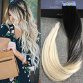 Full Shine High Quality Balayage Remy Brazilian Hair in Real Hair Extensions Tape Hair Color #1B#613 Extensiones De Cinta Ombre