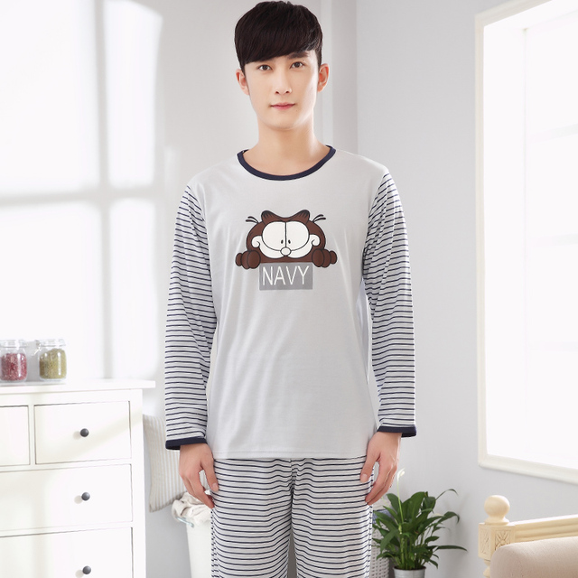 2017 nuevos hombres de manga larga pijama establece pantalones largos ajustado de color gris café cat printing-5080