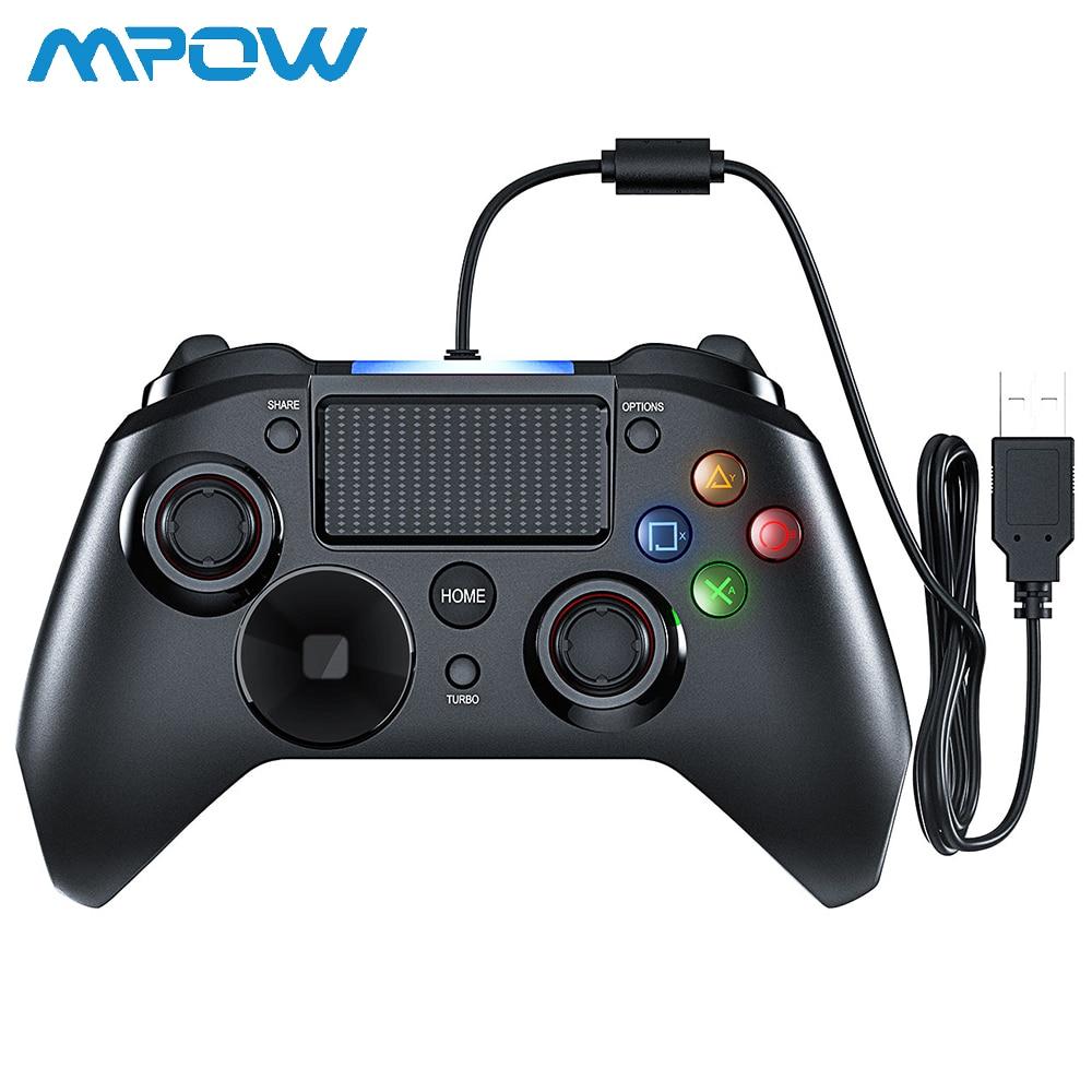 Mpow PS4 Múltipla Vibração Joystick Controlador de Jogo USB Wired Gamepad Handle 2M Cabo Gamepad para iPhone iPad PC para PS4/PS3