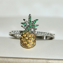 Cute Pineapple Silver Ring with Zircon Stone for Women Wedding Engagement Fashion Jewelry 2019 New