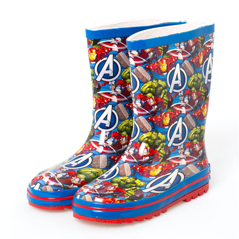 2019 New Disney Super Heroes Avengers Green Giant Rain Boots Boy Water Shoes  Non-slip Size 24-36