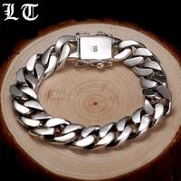 LT 925 Браслеты стерлингового серебра человек высокий Польский обуздать звено цепи роскошный браслет Винтаж Punk Rock Байкер Для мужчин s украшен