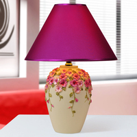 Modern Carved Pansy Flower Bedroom Desk Lamp Fashion Luminaria De Mesa Home Decor Table Light E27