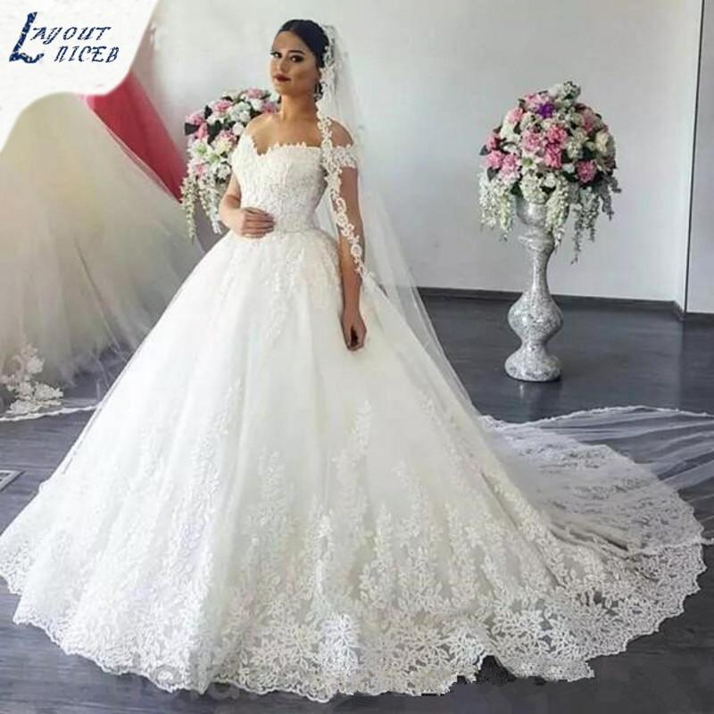 WD0414 Custom Made Wedding Dress 2018 robe de mariage Lace Appliques Vestido de noiva Off The