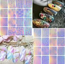 12 Sheets/set Hollow Stencil Sticker Nail Art Transfer Tips Template Stickers Vinyls Adhesive 3D Fingernail Tool