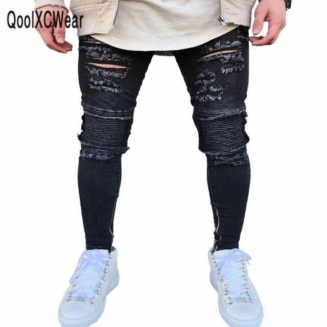 d114c0d5b4025 Hommes Jeans trou noir pantalon extensible déchiré Skinny Biker Jeans Slim  Fit plissé déchiré élasticité mâle